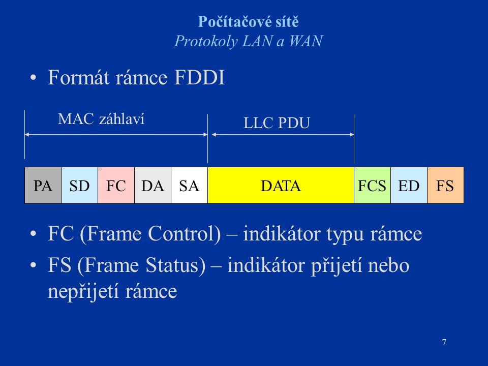 7 Počítačové sítě Protokoly LAN a WAN Formát rámce FDDI FC (Frame Control) – indikátor typu rámce FS (Frame Status) – indikátor přijetí nebo nepřijetí