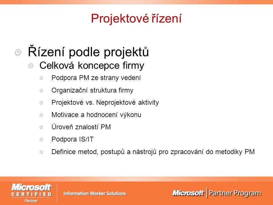 Projektové řízení Řízení podle projektů Celková koncepce firmy Podpora PM ze strany vedení Organizační struktura firmy Projektové vs.