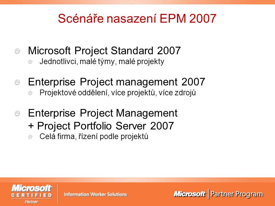 Scénáře nasazení EPM 2007 Microsoft Project Standard 2007 Jednotlivci, malé týmy, malé projekty Enterprise Project management 2007 Projektové oddělení, více projektů, více zdrojů Enterprise Project Management + Project Portfolio Server 2007 Celá firma, řízení podle projektů
