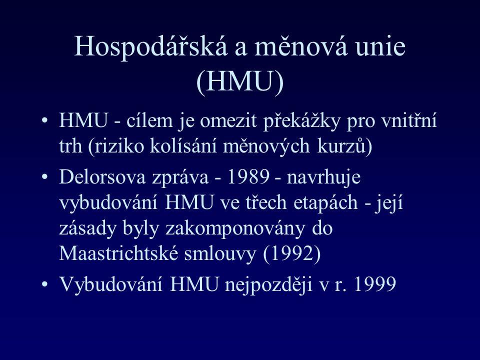 Hospodářská a měnová unie (HMU) HMU - cílem je omezit překážky pro vnitřní trh (riziko kolísání měnových kurzů) Delorsova zpráva - 1989 - navrhuje vybudování HMU ve třech etapách - její zásady byly zakomponovány do Maastrichtské smlouvy (1992) Vybudování HMU nejpozději v r.