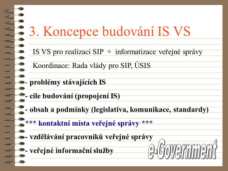 2. Státní informační politika Přijata vládou ČR v květnu 1999  cesta ČR k informační společnosti  cíle, priority a termíny plnění reálnost ?? Státní