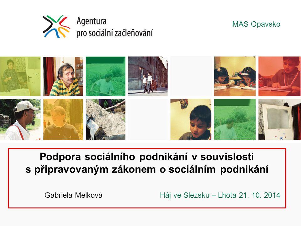 Podpora sociálního podnikání v souvislosti s připravovaným zákonem o sociálním podnikání Gabriela Melková Háj ve Slezsku – Lhota 21. 10. 2014 MAS Opav