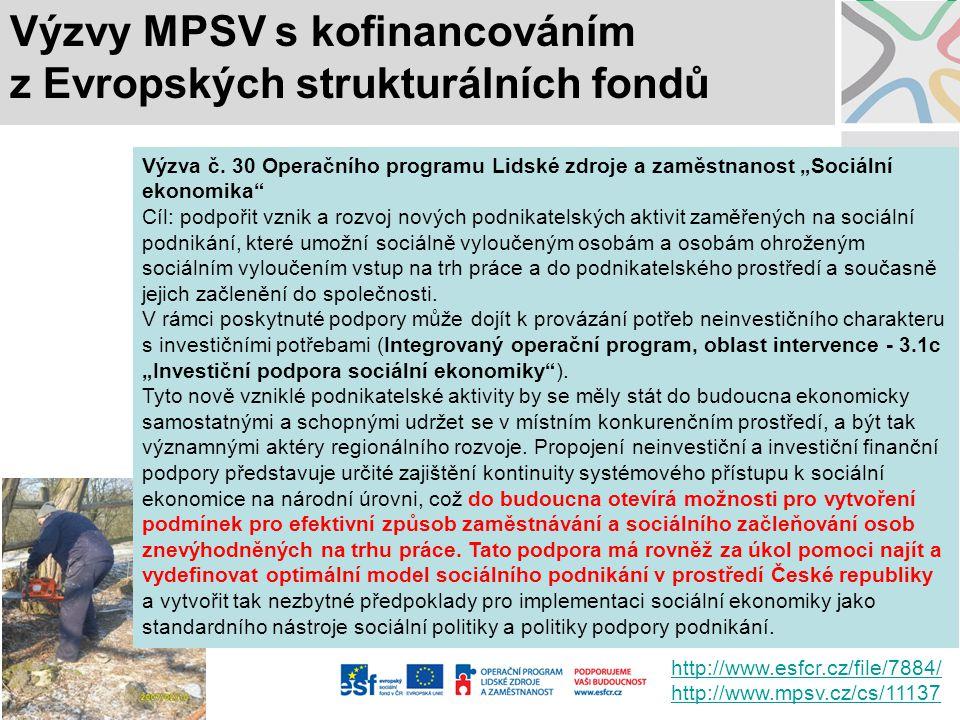 """Výzvy MPSV s kofinancováním z Evropských strukturálních fondů Výzva č. 30 Operačního programu Lidské zdroje a zaměstnanost """"Sociální ekonomika"""" Cíl: p"""