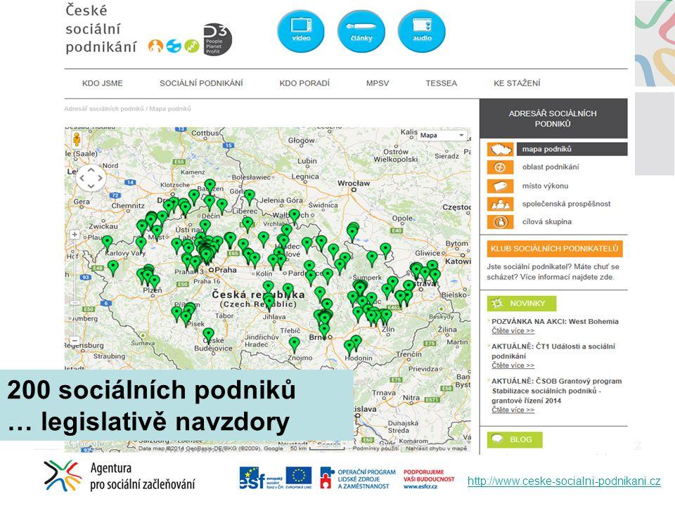 http://www.ceske-socialni-podnikani.cz 200 sociálních podniků … legislativě navzdory