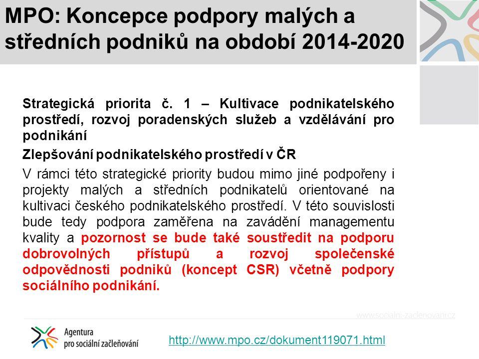 MPO: Koncepce podpory malých a středních podniků na období 2014-2020 Strategická priorita č. 1 – Kultivace podnikatelského prostředí, rozvoj poradensk