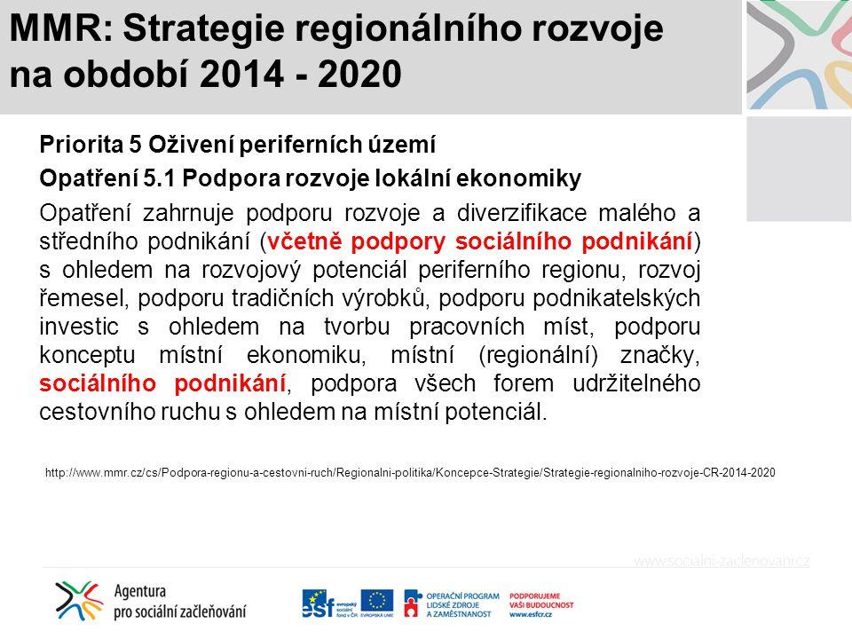MMR: Strategie regionálního rozvoje na období 2014 - 2020 Priorita 5 Oživení periferních území Opatření 5.1 Podpora rozvoje lokální ekonomiky Opatření