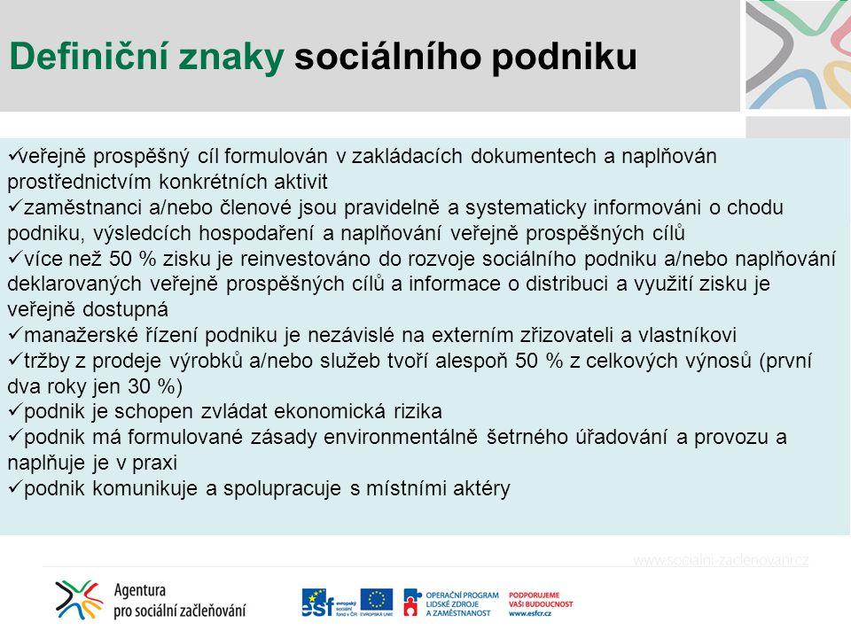 Definiční znaky sociálního podniku veřejně prospěšný cíl formulován v zakládacích dokumentech a naplňován prostřednictvím konkrétních aktivit zaměstna