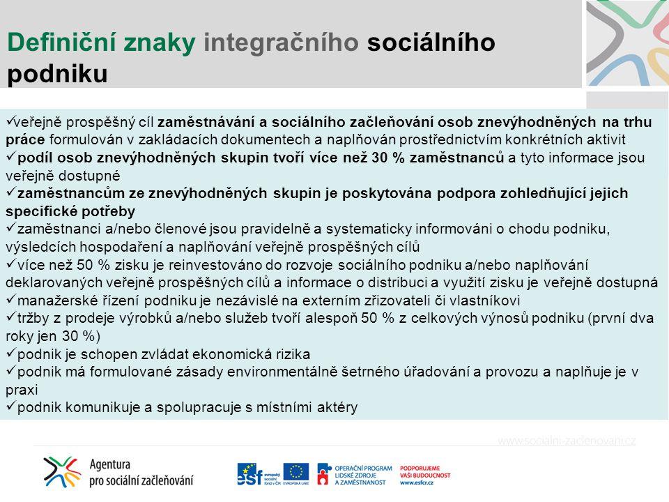 Definiční znaky integračního sociálního podniku veřejně prospěšný cíl zaměstnávání a sociálního začleňování osob znevýhodněných na trhu práce formulov