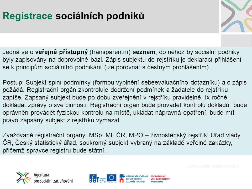 Registrace sociálních podniků Jedná se o veřejně přístupný (transparentní) seznam, do něhož by sociální podniky byly zapisovány na dobrovolné bázi. Zá