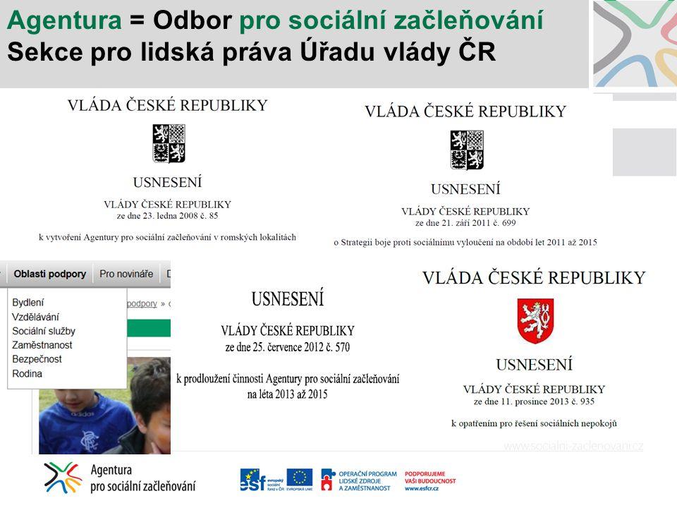 Agentura = Odbor pro sociální začleňování Sekce pro lidská práva Úřadu vlády ČR