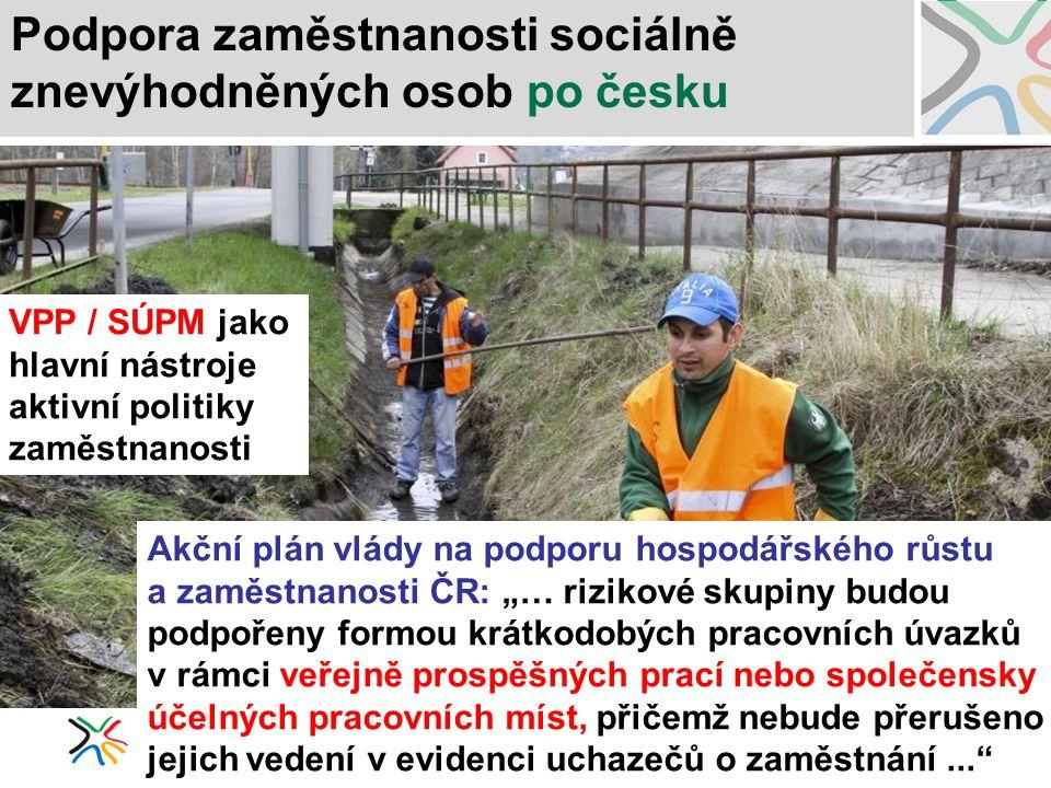 Podpora zaměstnanosti sociálně znevýhodněných osob po česku VPP / SÚPM jako hlavní nástroje aktivní politiky zaměstnanosti Akční plán vlády na podporu