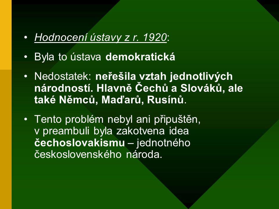 Ústava Republiky Československé: Deklarování jednotnosti Československé republiky, právo na sebeurčení a založení republiky na demokratických principe