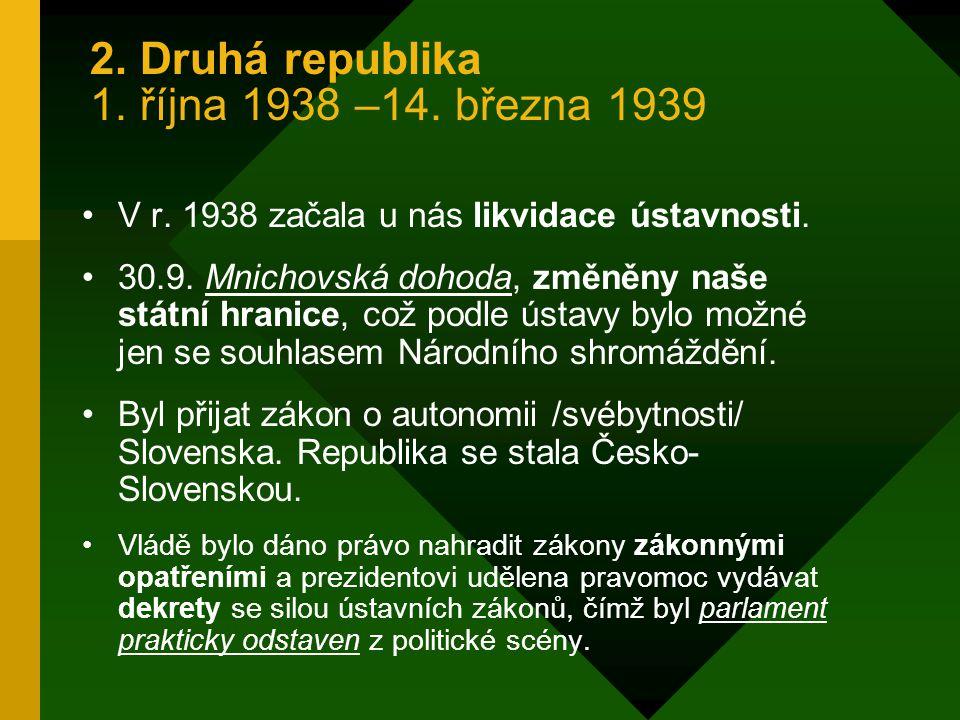 Hodnocení ústavy z r. 1920: Byla to ústava demokratická Nedostatek: neřešila vztah jednotlivých národností. Hlavně Čechů a Slováků, ale také Němců, Ma