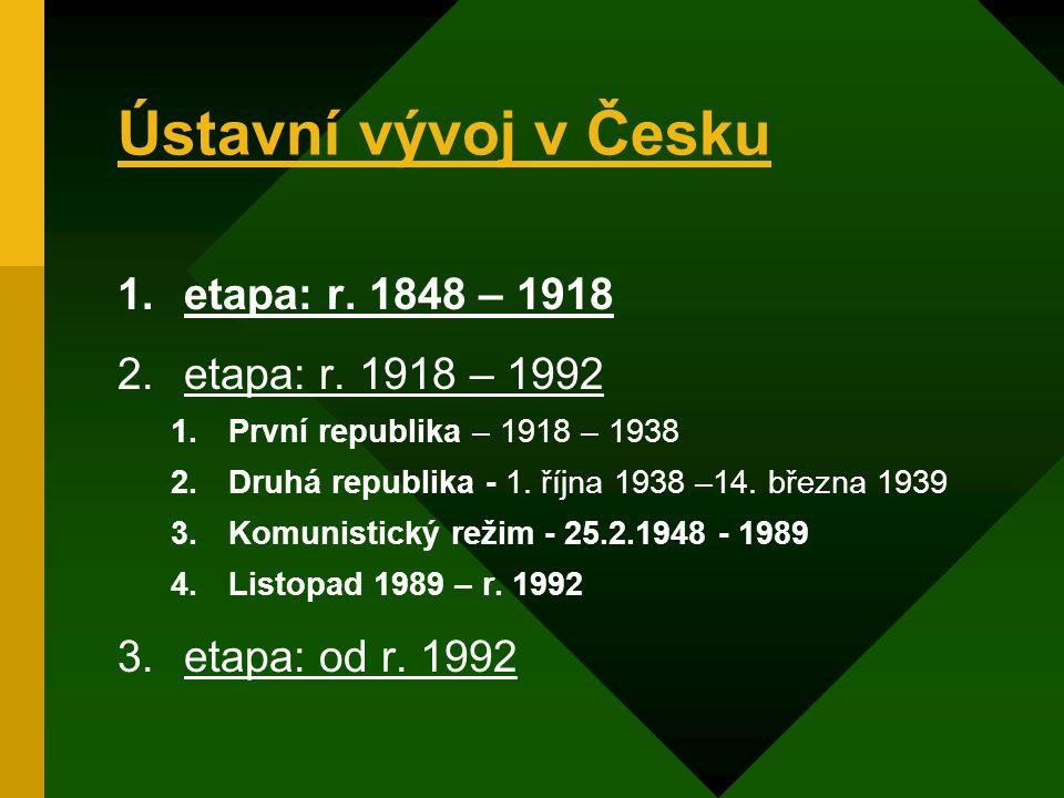 Ústavní vývoj v Česku 1.etapa: r.1848 – 1918 2.etapa: r.