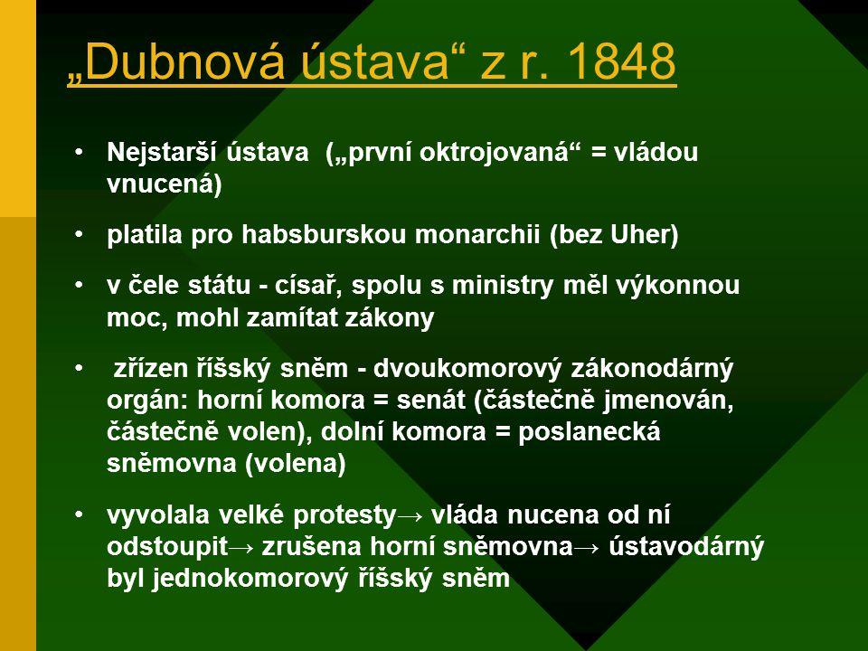 Ústavní vývoj v Česku 1.etapa: r. 1848 – 1918 2.etapa: r. 1918 – 1992 1.První republika – 1918 – 1938 2.Druhá republika - 1. října 1938 –14. března 19