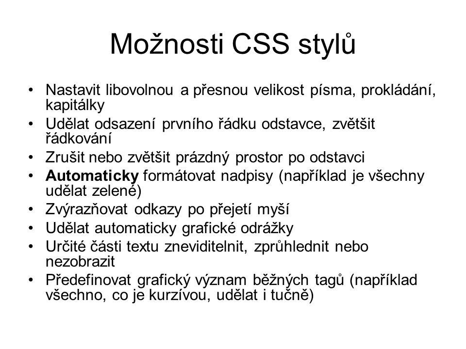 Možnosti CSS stylů Nastavit libovolnou a přesnou velikost písma, prokládání, kapitálky Udělat odsazení prvního řádku odstavce, zvětšit řádkování Zruši