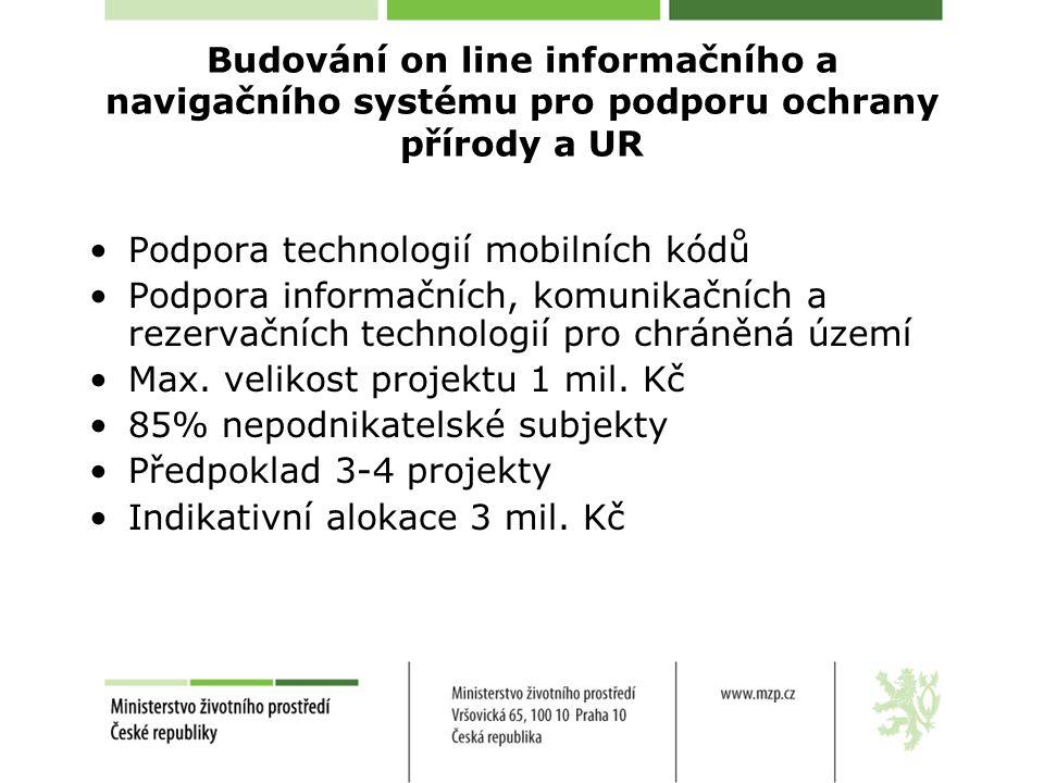 Budování on line informačního a navigačního systému pro podporu ochrany přírody a UR Podpora technologií mobilních kódů Podpora informačních, komunikačních a rezervačních technologií pro chráněná území Max.
