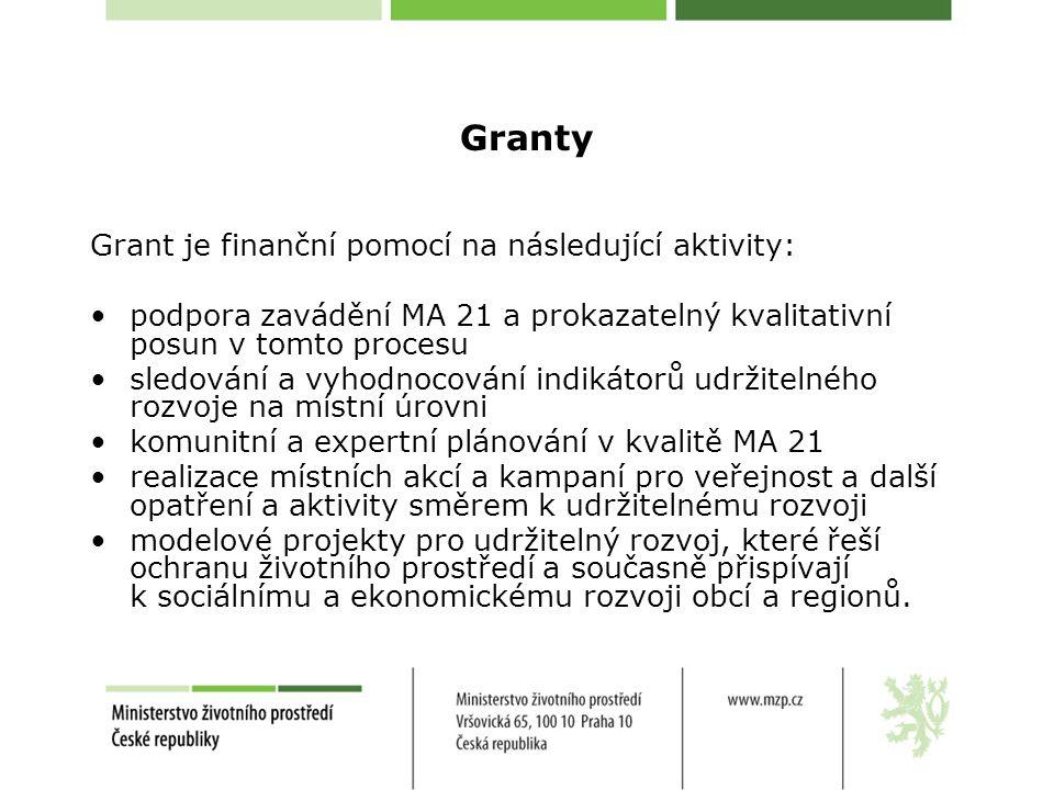Granty Grant je finanční pomocí na následující aktivity: podpora zavádění MA 21 a prokazatelný kvalitativní posun v tomto procesu sledování a vyhodnocování indikátorů udržitelného rozvoje na místní úrovni komunitní a expertní plánování v kvalitě MA 21 realizace místních akcí a kampaní pro veřejnost a další opatření a aktivity směrem k udržitelnému rozvoji modelové projekty pro udržitelný rozvoj, které řeší ochranu životního prostředí a současně přispívají k sociálnímu a ekonomickému rozvoji obcí a regionů.