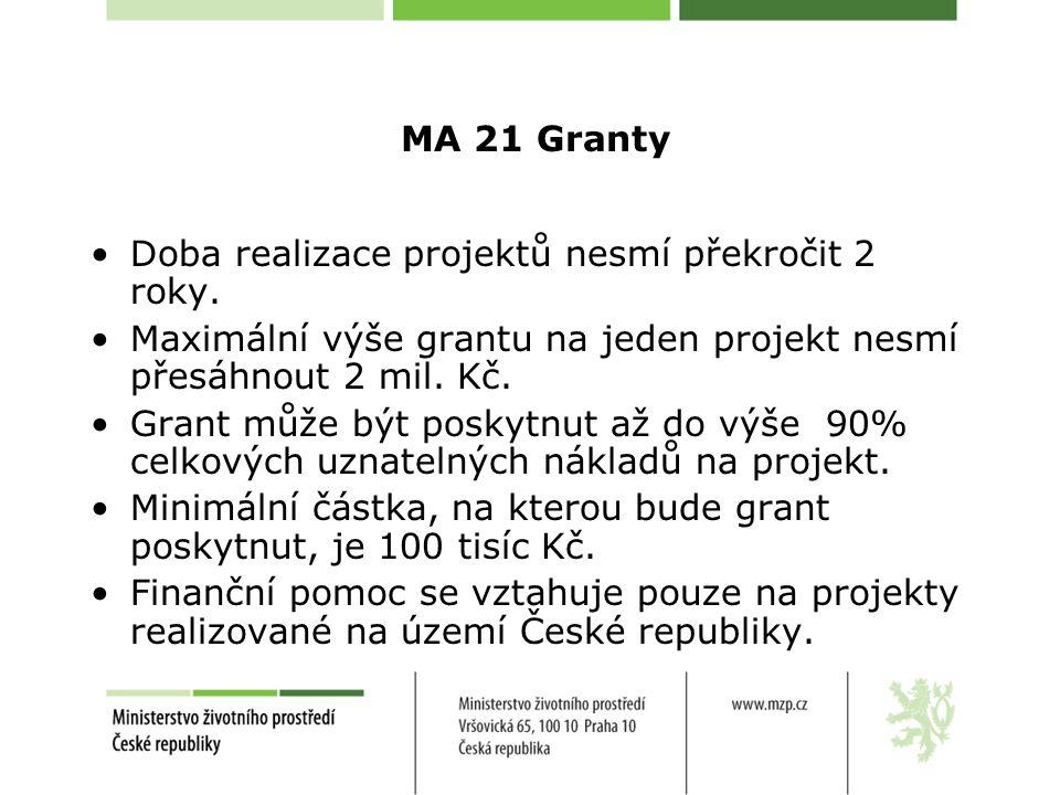 MA 21 Granty Doba realizace projektů nesmí překročit 2 roky.