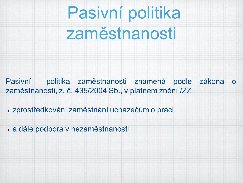 Pasivní politika zaměstnanosti Pasivní politika zaměstnanosti znamená podle zákona o zaměstnanosti, z. č. 435/2004 Sb., v platném znění /ZZ  zprostře