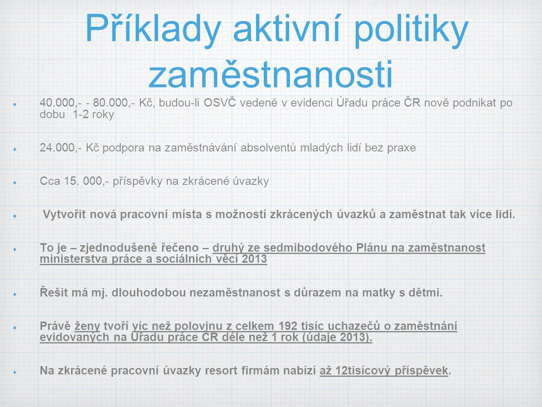 Příklady aktivní politiky zaměstnanosti 40.000,- - 80.000,- Kč, budou-li OSVČ vedené v evidenci Úřadu práce ČR nově podnikat po dobu 1-2 roky 24.000,-
