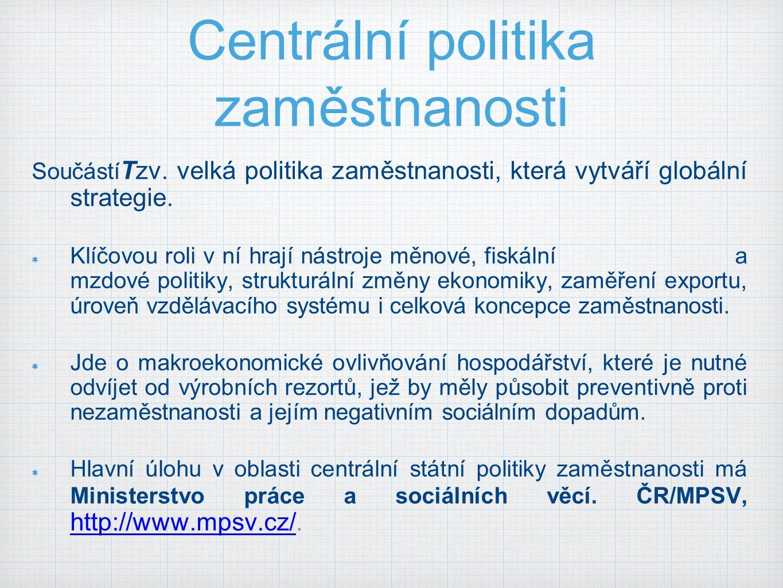 Centrální politika zaměstnanosti Součástí Tzv. velká politika zaměstnanosti, která vytváří globální strategie. Klíčovou roli v ní hrají nástroje měnov