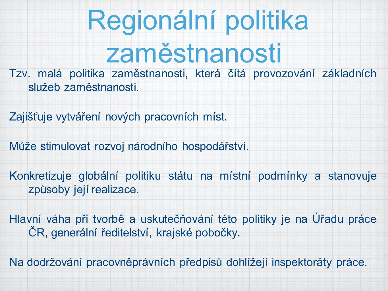 Regionální politika zaměstnanosti Tzv. malá politika zaměstnanosti, která čítá provozování základních služeb zaměstnanosti. Zajišťuje vytváření nových