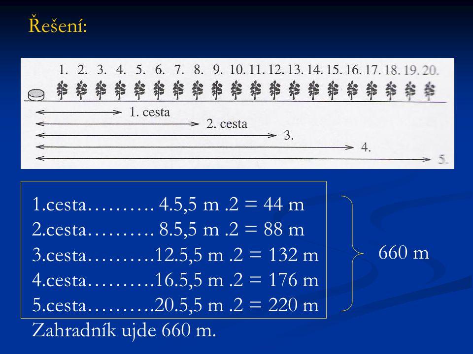 Řešení: 1.cesta………. 4.5,5 m.2 = 44 m 2.cesta………. 8.5,5 m.2 = 88 m 3.cesta……….12.5,5 m.2 = 132 m 4.cesta……….16.5,5 m.2 = 176 m 5.cesta……….20.5,5 m.2 =