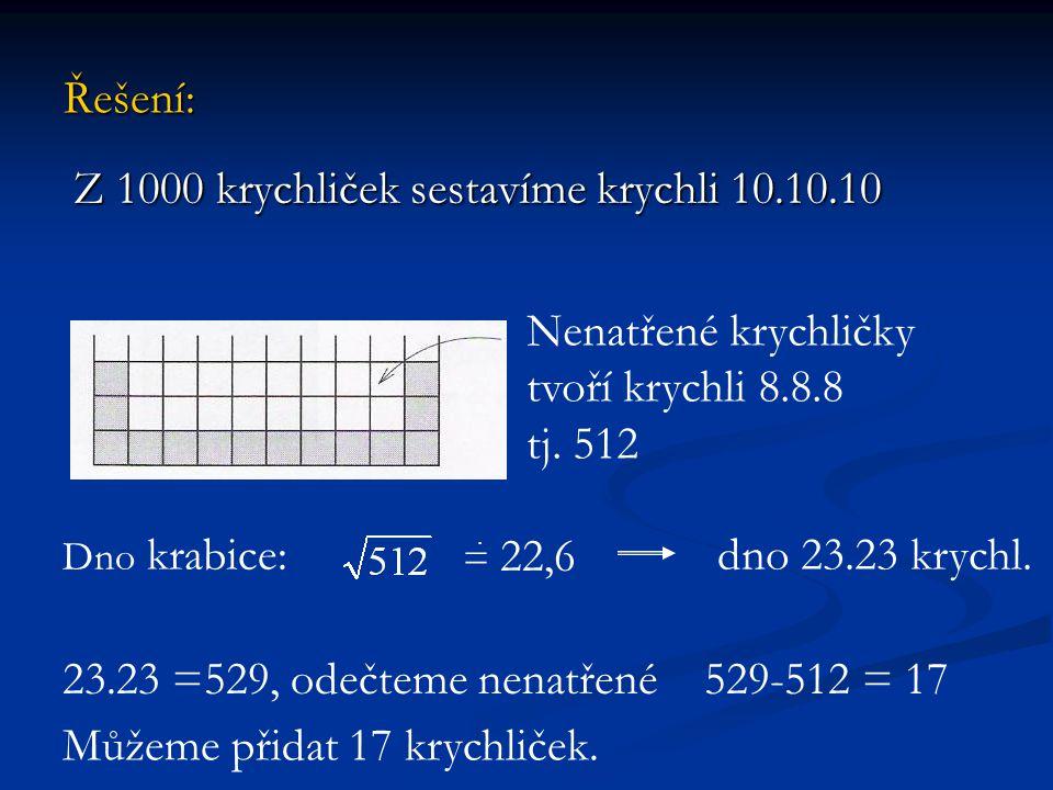 Řešení: Z 1000 krychliček sestavíme krychli 10.10.10 Z 1000 krychliček sestavíme krychli 10.10.10 Nenatřené krychličky tvoří krychli 8.8.8 tj. 512 Dno