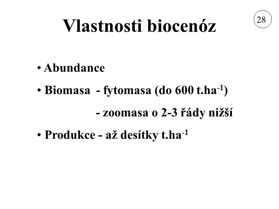 Vlastnosti biocenóz Abundance Biomasa - fytomasa (do 600 t.ha -1 ) - zoomasa o 2-3 řády nižší Produkce - až desítky t.ha -1 28