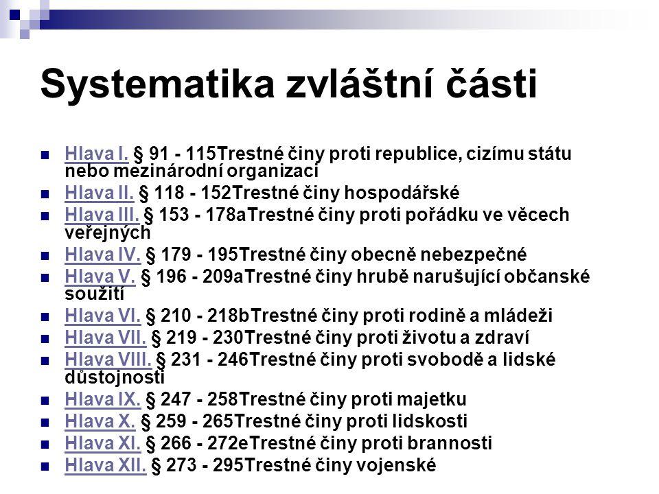 Systematika zvláštní části Hlava I. § 91 - 115Trestné činy proti republice, cizímu státu nebo mezinárodní organizaci Hlava I. Hlava II. § 118 - 152Tre