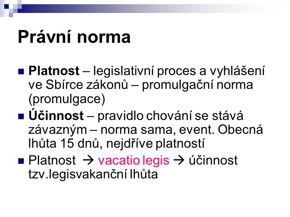 Právní norma Platnost – legislativní proces a vyhlášení ve Sbírce zákonů – promulgační norma (promulgace) Účinnost – pravidlo chování se stává závazným – norma sama, event.