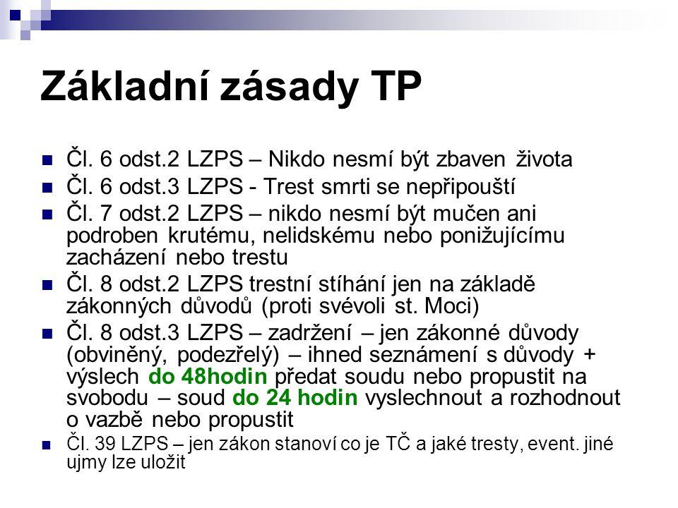 Základní zásady TP Čl.6 odst.2 LZPS – Nikdo nesmí být zbaven života Čl.
