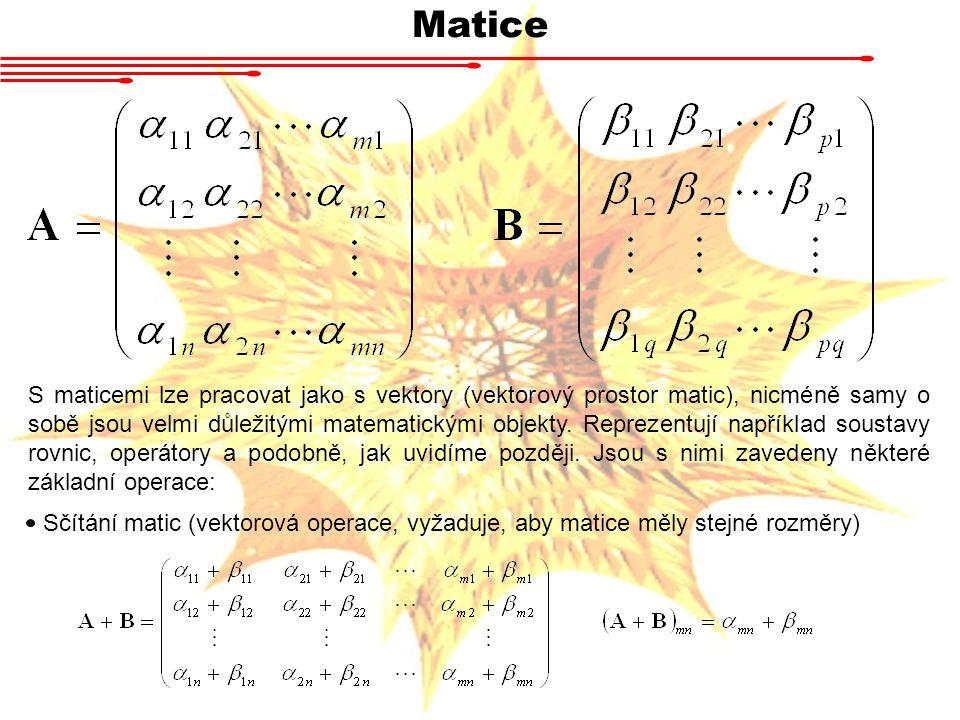 Matice S maticemi lze pracovat jako s vektory (vektorový prostor matic), nicméně samy o sobě jsou velmi důležitými matematickými objekty. Reprezentují