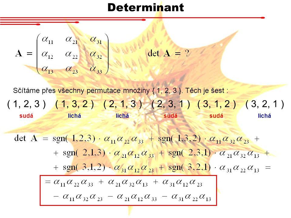 Determinant Sčítáme přes všechny permutace množiny { 1, 2, 3 }. Těch je šest : ( 1, 2, 3 )( 1, 3, 2 )( 2, 1, 3 )( 2, 3, 1 )( 3, 1, 2 )( 3, 2, 1 ) sudá