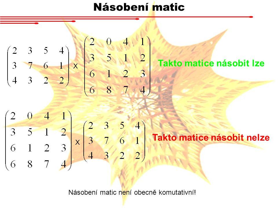 Násobení matic Takto matice násobit lze Takto matice násobit nelze X X Násobení matic není obecně komutativní!