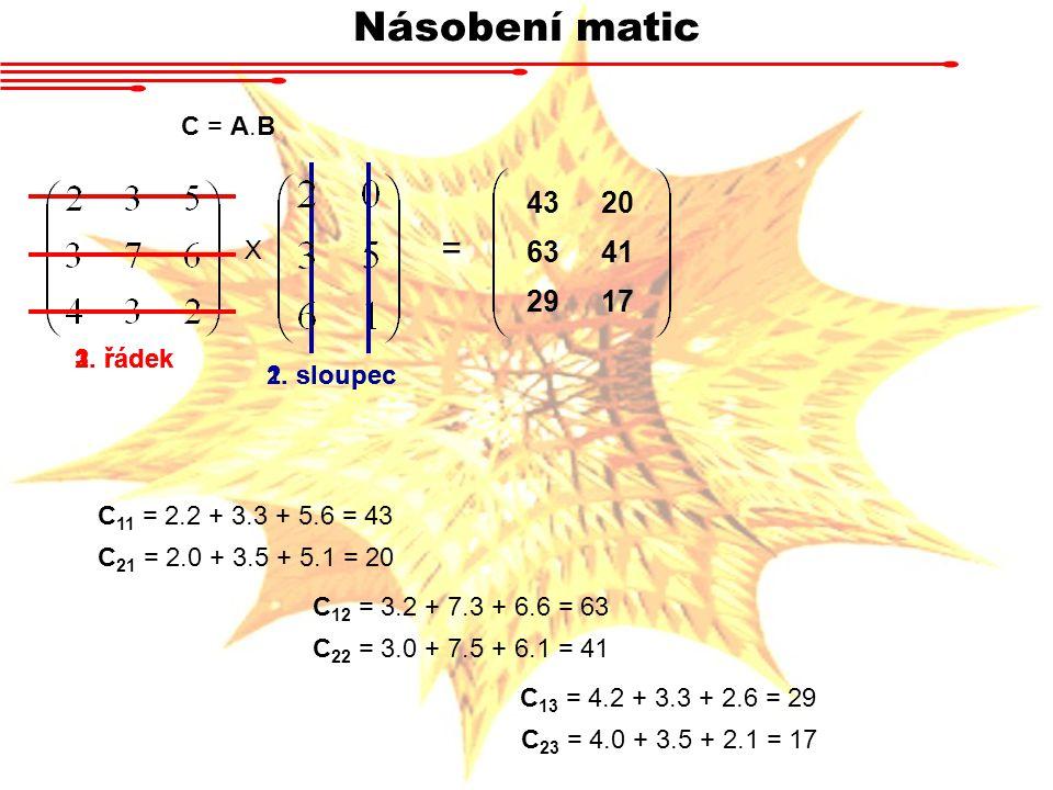 Násobení matic X 1. řádek 1. sloupec C = A.B C 11 = 2.2 + 3.3 + 5.6 = 43 C 21 = 2.0 + 3.5 + 5.1 = 20 C 12 = 3.2 + 7.3 + 6.6 = 63 C 22 = 3.0 + 7.5 + 6.