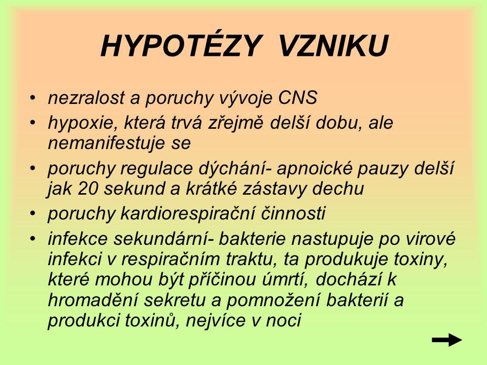 HYPOTÉZY VZNIKU nezralost a poruchy vývoje CNS hypoxie, která trvá zřejmě delší dobu, ale nemanifestuje se poruchy regulace dýchání- apnoické pauzy de