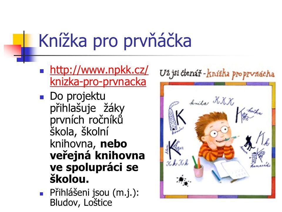 Knížka pro prvňáčka http://www.npkk.cz/ knizka-pro-prvnacka http://www.npkk.cz/ knizka-pro-prvnacka Do projektu přihlašuje žáky prvních ročníků škola,