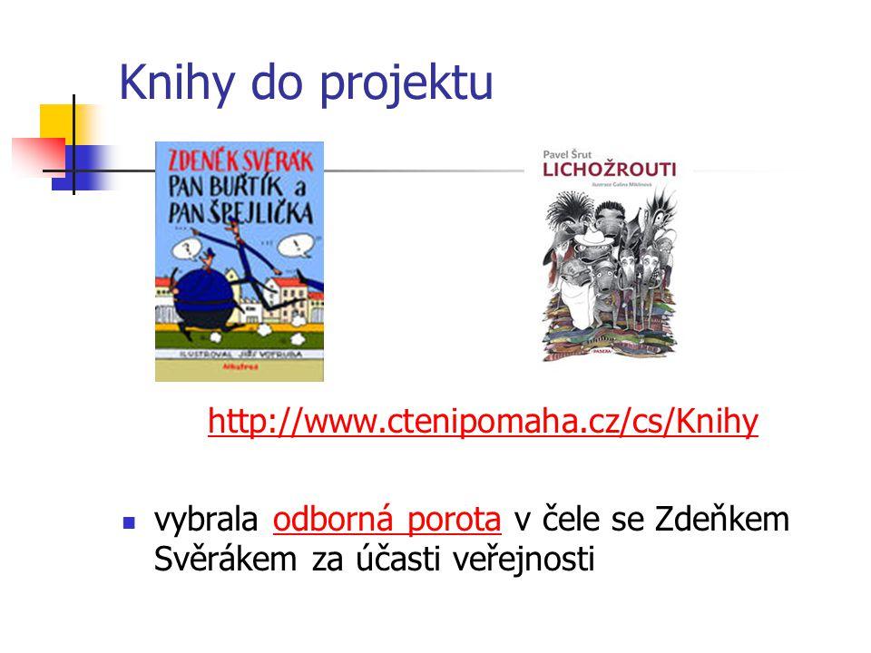 Knihy do projektu http://www.ctenipomaha.cz/cs/Knihy vybrala odborná porota v čele se Zdeňkem Svěrákem za účasti veřejnostiodborná porota