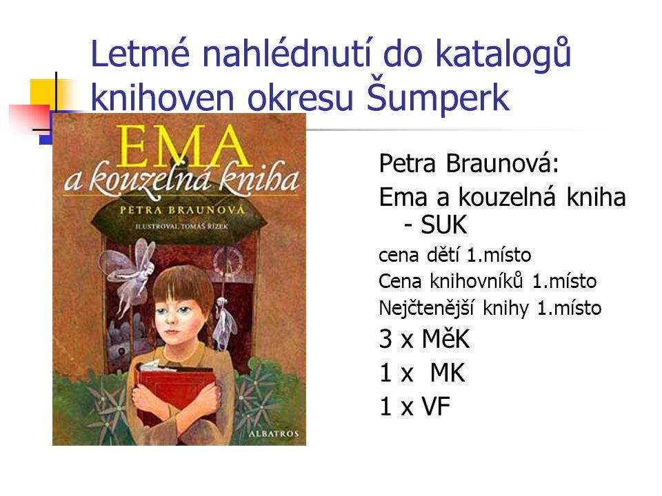 Letmé nahlédnutí do katalogů knihoven okresu Šumperk Petra Braunová: Ema a kouzelná kniha - SUK cena dětí 1.místo Cena knihovníků 1.místo Nejčtenější