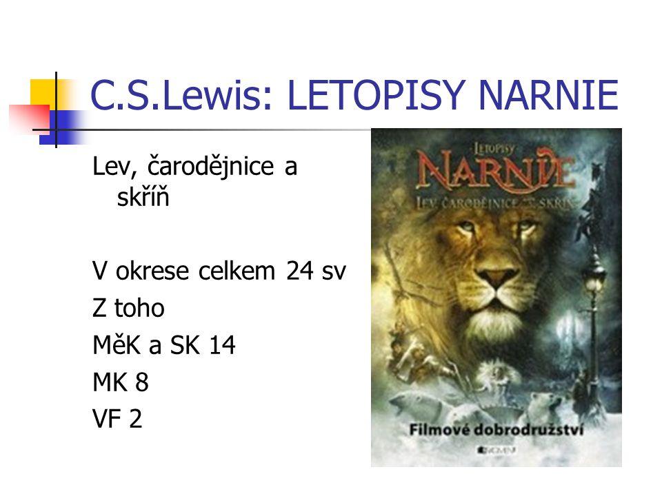 C.S.Lewis: LETOPISY NARNIE Lev, čarodějnice a skříň V okrese celkem 24 sv Z toho MěK a SK 14 MK 8 VF 2
