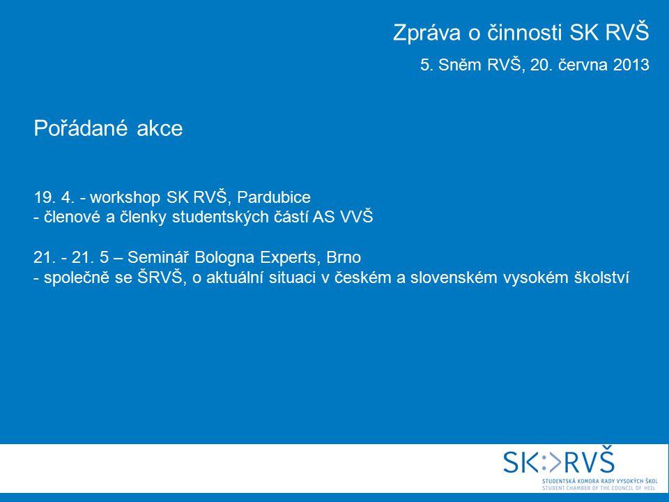Pořádané akce 19. 4. - workshop SK RVŠ, Pardubice - členové a členky studentských částí AS VVŠ 21. - 21. 5 – Seminář Bologna Experts, Brno - společně