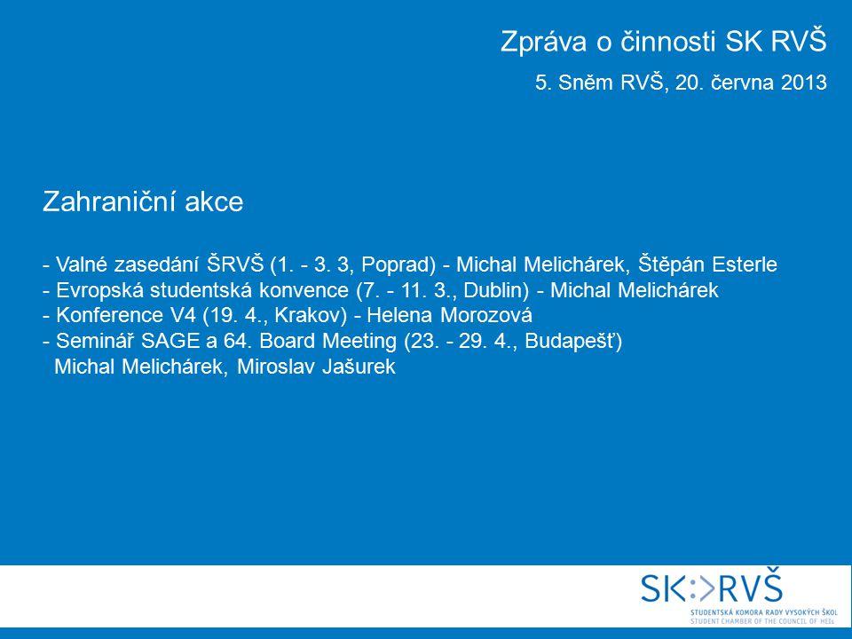 Zahraniční akce - Valné zasedání ŠRVŠ (1. - 3. 3, Poprad) - Michal Melichárek, Štěpán Esterle - Evropská studentská konvence (7. - 11. 3., Dublin) - M
