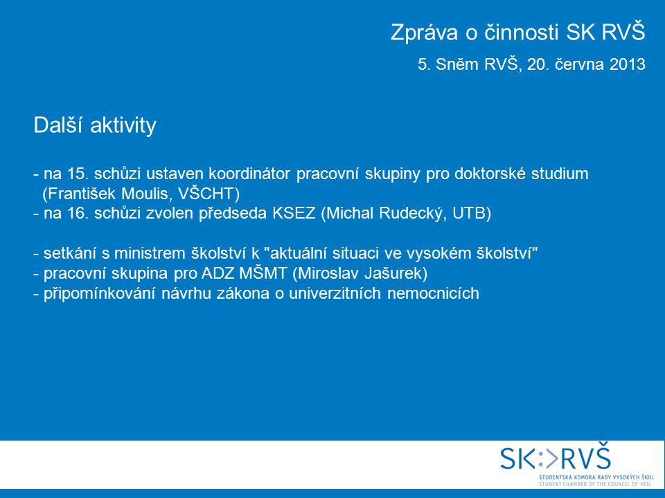 Další aktivity - na 15. schůzi ustaven koordinátor pracovní skupiny pro doktorské studium (František Moulis, VŠCHT) - na 16. schůzi zvolen předseda KS