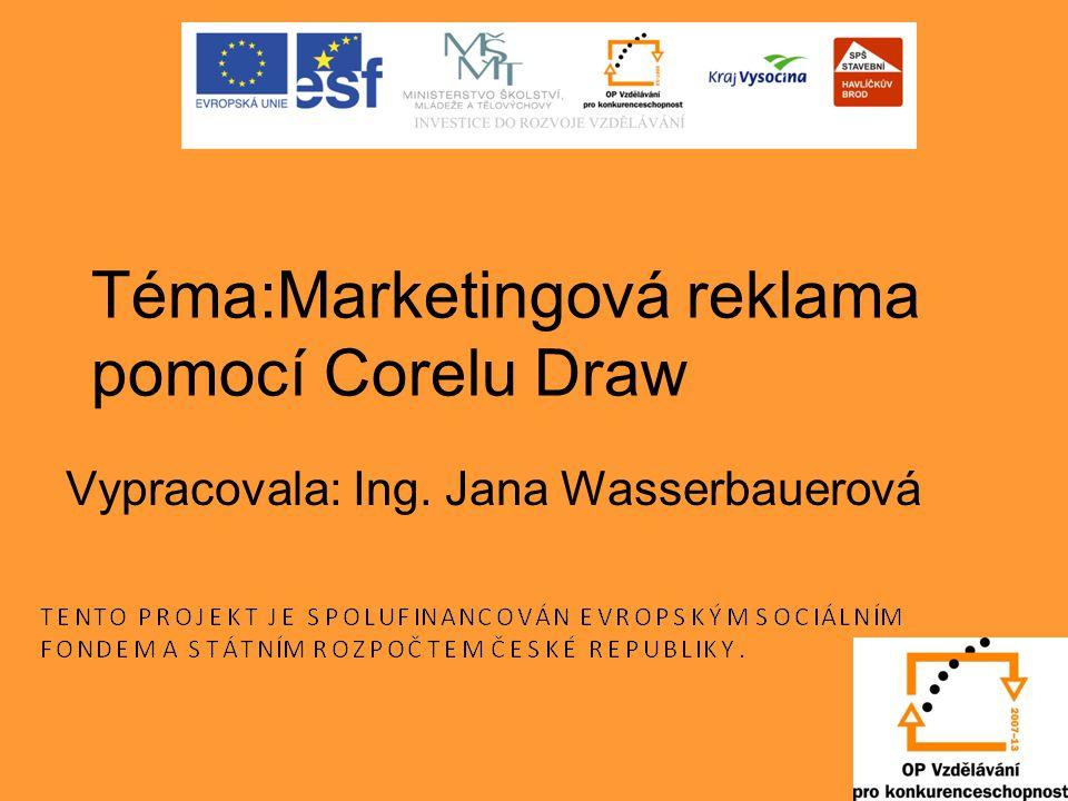 Téma:Marketingová reklama pomocí Corelu Draw Vypracovala: Ing. Jana Wasserbauerová