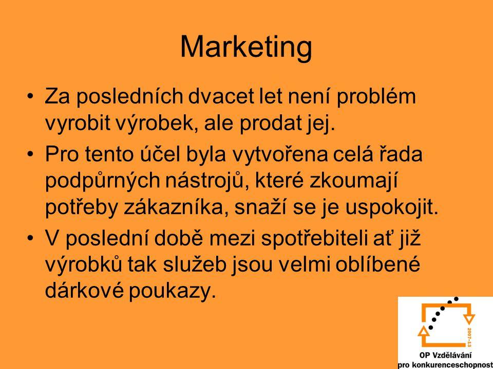 Marketing Za posledních dvacet let není problém vyrobit výrobek, ale prodat jej. Pro tento účel byla vytvořena celá řada podpůrných nástrojů, které zk