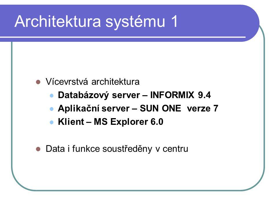 Architektura systému 1 Vícevrstvá architektura Databázový server – INFORMIX 9.4 Aplikační server – SUN ONE verze 7 Klient – MS Explorer 6.0 Data i funkce soustředěny v centru