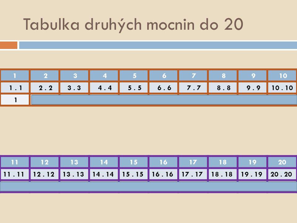 Tabulka druhých mocnin do 20 1 2 3 4 5 6 7 8 9 10 1. 1 2. 23. 3 4. 4 5. 5 6. 6 7. 7 8. 8 9. 910. 10 1 4 9 16 25 36 49 64 81 100 11121314151617181920 1
