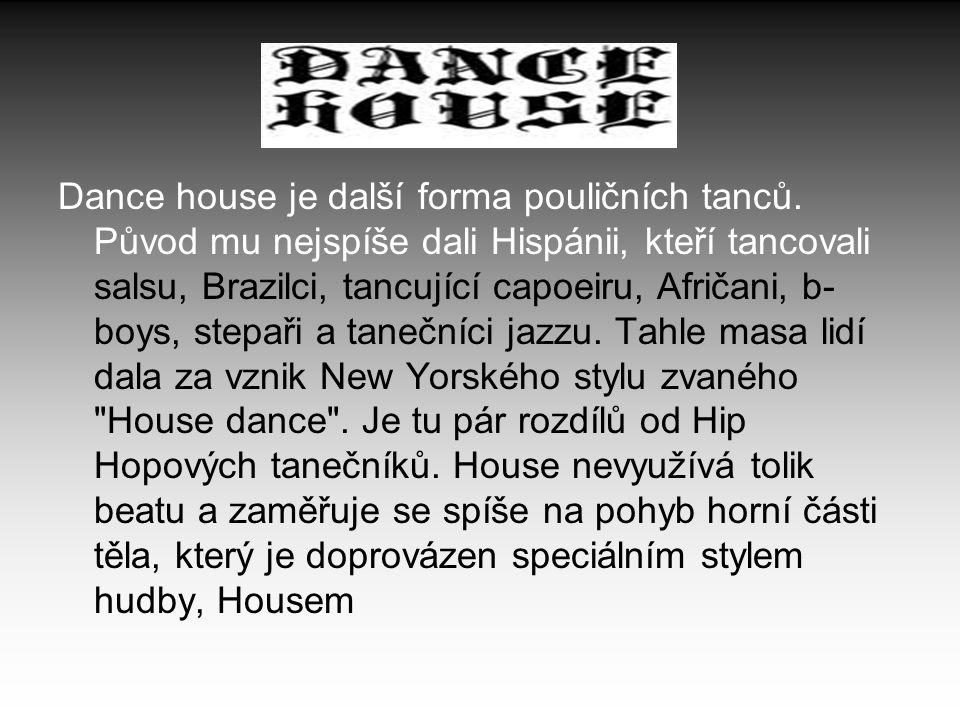 Dance house je další forma pouličních tanců. Původ mu nejspíše dali Hispánii, kteří tancovali salsu, Brazilci, tancující capoeiru, Afričani, b- boys,